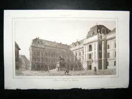 L'Universe C1850's Antique Print Place Joseph, Vienna