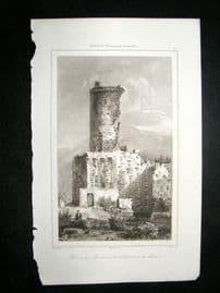 L'Universe C1850's Antique Print Roman Ruins at Monaco, France
