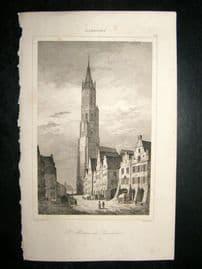 L'Universe C1850's Antique Print St. Martin de Landshut, Germany