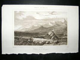L'Universe C1850's Antique Print Volcano, Auvergne, France