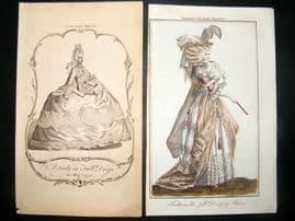 Lady's Magazine 1770 Pre Regency Prints (2) The First English Fashion Plate RARE