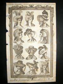 Lady's Magazine 1786 Pre Regency Fashion Print. Ladies Head Dresses