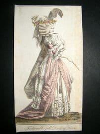 Lady's Magazine 1789 Very Early Hand Col Pre Regency Fashion Print. Paris Dress