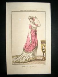 Lady's Magazine 1801 H/Col Regency Fashion Print. Paris Dress 04