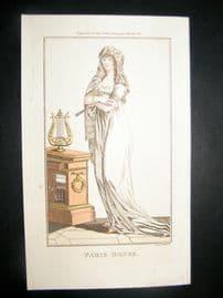 Lady's Magazine 1801 H/Col Regency Fashion Print. Paris Dress 05