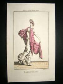 Lady's Magazine 1801 H/Col Regency Fashion Print. Paris Dress 06. Silver Heightening
