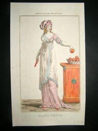 Lady's Magazine 1801 H/Col Regency Fashion Print. Paris Dress 07