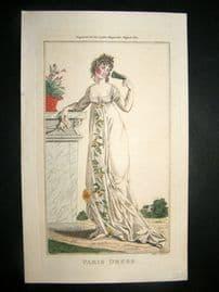 Lady's Magazine 1801 H/Col Regency Fashion Print. Paris Dress 08