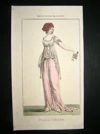 Lady's Magazine 1801 H/Col Regency Fashion Print. Paris Dress 09