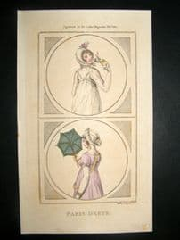 Lady's Magazine 1801 H/Col Regency Fashion Print. Paris Dress 10