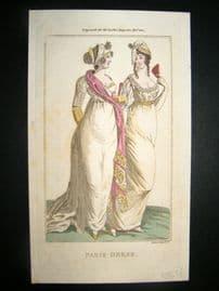 Lady's Magazine 1801 H/Col Regency Fashion Print. Paris Dress 11