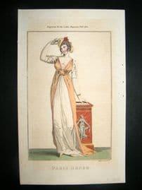 Lady's Magazine 1802 H/Col Regency Fashion Print. Paris Dress 13