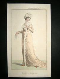 Lady's Magazine 1802 H/Col Regency Fashion Print. Paris Dress 14