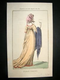 Lady's Magazine 1802 H/Col Regency Fashion Print. Paris Dress 16