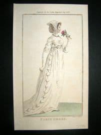Lady's Magazine 1802 H/Col Regency Fashion Print. Paris Dress 17