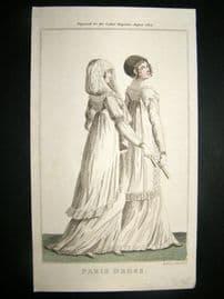 Lady's Magazine 1802 H/Col Regency Fashion Print. Paris Dress 18