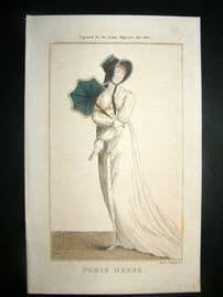 Lady's Magazine 1802 H/Col Regency Fashion Print. Paris Dress 19