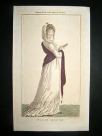 Lady's Magazine 1802 H/Col Regency Fashion Print. Paris Dress 20