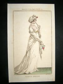 Lady's Magazine 1802 H/Col Regency Fashion Print. Paris Dress 21