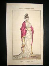 Lady's Magazine 1803 H/Col Regency Fashion Print. Paris Dress 22