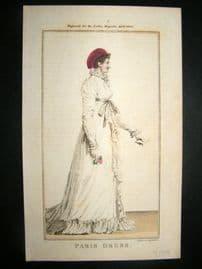 Lady's Magazine 1803 H/Col Regency Fashion Print. Paris Dress 23