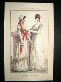 Lady's Magazine 1803 H/Col Regency Fashion Print. Paris Dress 25