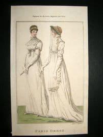 Lady's Magazine 1803 H/Col Regency Fashion Print. Paris Dress 26