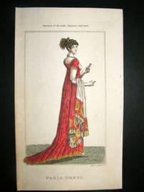 Lady's Magazine 1804 H/Col Regency Fashion Print. Paris Dress 27