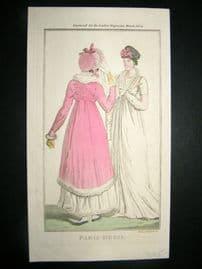 Lady's Magazine 1804 H/Col Regency Fashion Print. Paris Dress 28