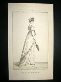 Lady's Magazine 1804 H/Col Regency Fashion Print. Paris Dress 30