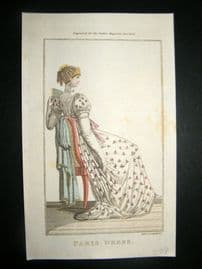 Lady's Magazine 1804 H/Col Regency Fashion Print. Paris Dress 31