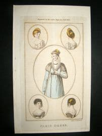 Lady's Magazine 1805 H/Col Regency Fashion Print. Paris Dress 32