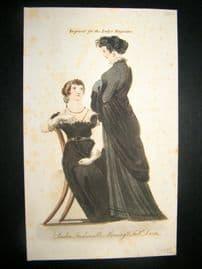 Lady's Magazine 1806 H/Col Regency Fashion Print. London Moorning & Full Dress 39