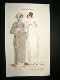 Lady's Magazine 1806 H/Col Regency Fashion Print. London Walking & Full Dress 38
