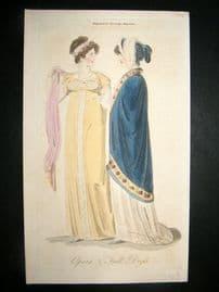 Lady's Magazine 1806 H/Col Regency Fashion Print. Opera & Full Dress 36