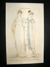 Lady's Magazine 1806 HC Regency Fashion Print. London Morning & Full Dresses 37