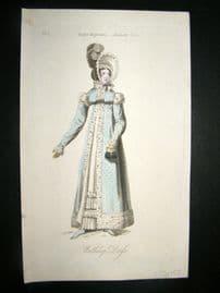 Lady's Magazine 1819 H/Col Regency Fashion Print. Walking Dress 01