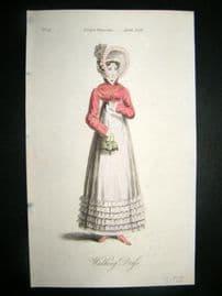 Lady's Magazine 1819 H/Col Regency Fashion Print. Walking Dress 04