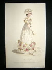Lady's Magazine 1823 H/Col Regency Fashion Print. Ball Dress 41