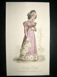 Lady's Magazine 1823 H/Col Regency Fashion Print. Carriage Dress 49