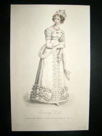 Lady's Magazine 1823 H/Col Regency Fashion Print. Evening Dress 45