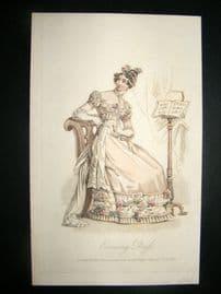 Lady's Magazine 1823 H/Col Regency Fashion Print. Evening Dress 46