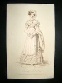 Lady's Magazine 1823 H/Col Regency Fashion Print. Evening Full Dress 42