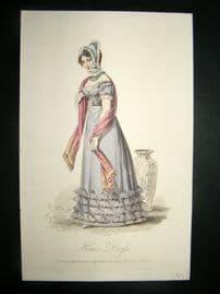 Lady's Magazine 1823 H/Col Regency Fashion Print. Home Dress 48