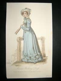 Lady's Magazine 1823 H/Col Regency Fashion Print. Marine Walking Dress 47