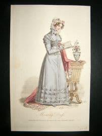 Lady's Magazine 1823 H/Col Regency Fashion Print. Morning Dress 47