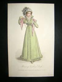 Lady's Magazine 1823 H/Col Regency Fashion Print. Morning Visiting Dress 43