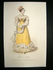Lady's Magazine 1823 H/Col Regency Fashion Print. Opera Dress 40