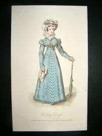 Lady's Magazine 1823 H/Col Regency Fashion Print. Walking Dress 44