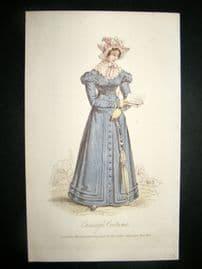 Lady's Magazine 1824 H/Col Regency Fashion Print. Carriage Costume 50